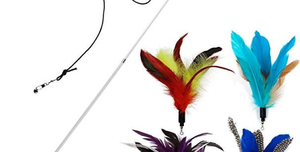 EcoCity Cat Toys - Feather Cat Teaser Toys - Natural Feather Refills for Cat Wan