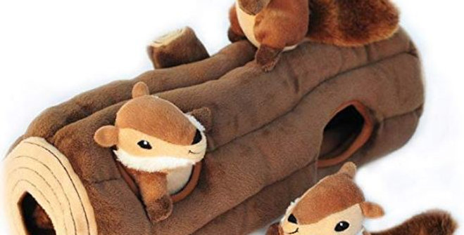ZippyPaws - Woodland Friends Burrow, Interactive Squeaky Hide and Seek Plush Dog