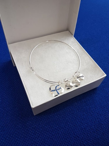 Blue Ribbon bracelet with charms