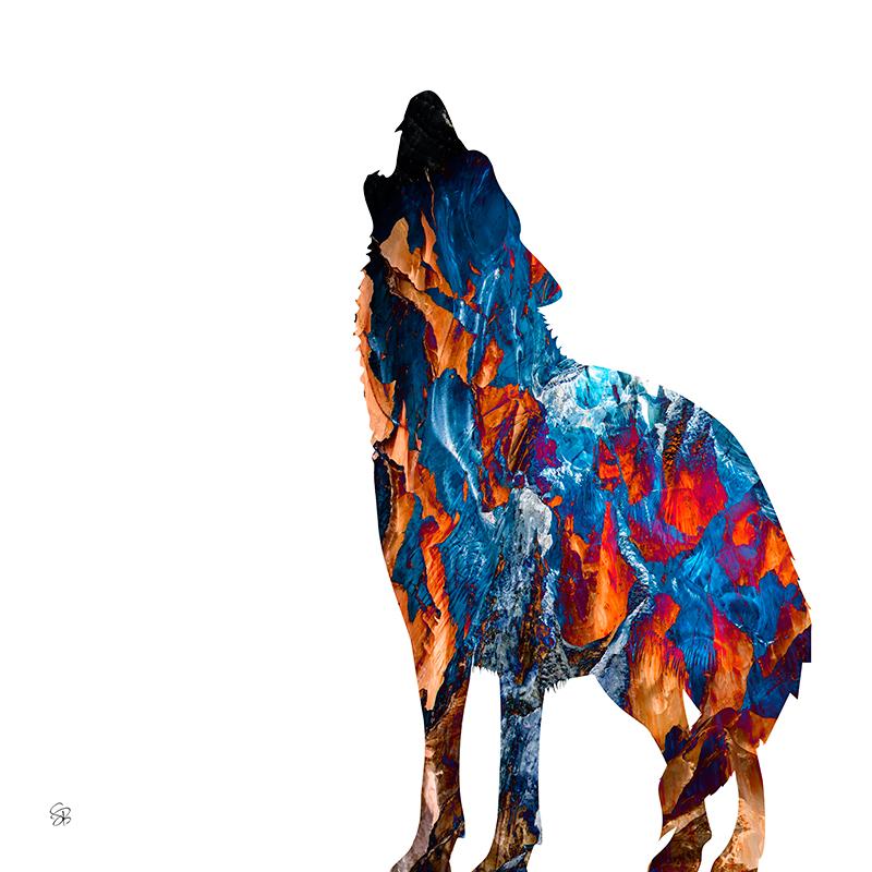 Spirit Wolf - Orange & Blue