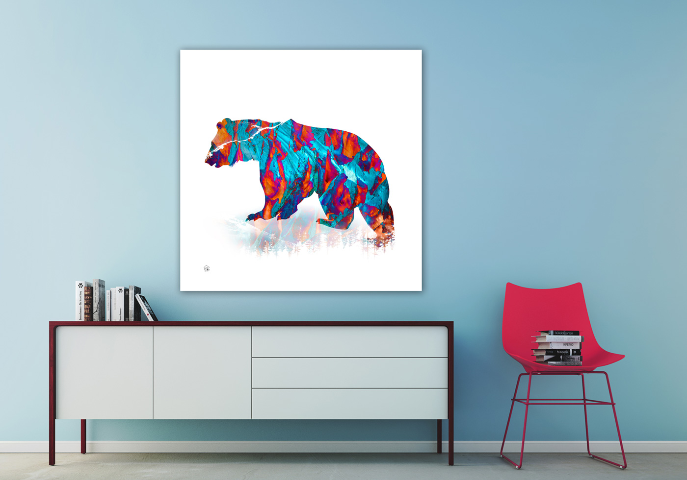 Spirit Bear - Blue & Orange