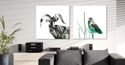 Big Horn & Snowy Owl - Forest