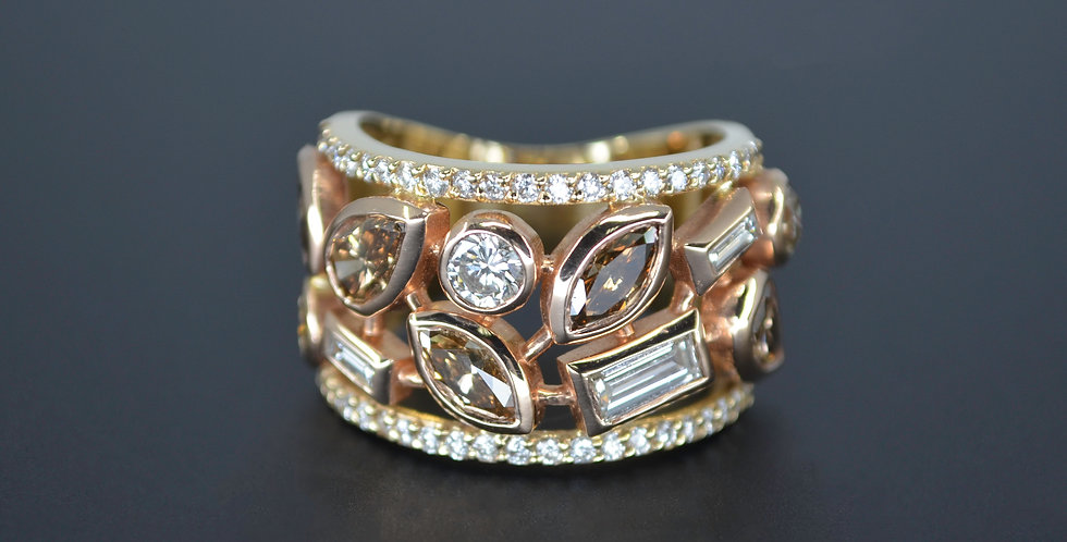 Cigar Band Confetti Diamond Ring