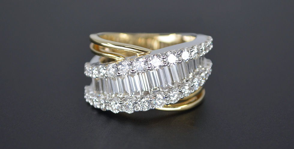 Bypass Baguette & Round Diamond Ring