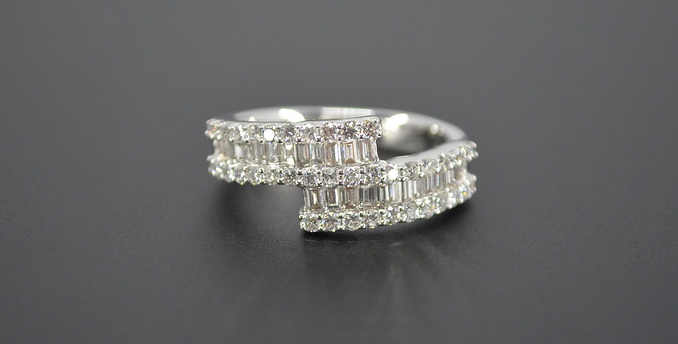 Baguette & Round Diamond Bypass Ring