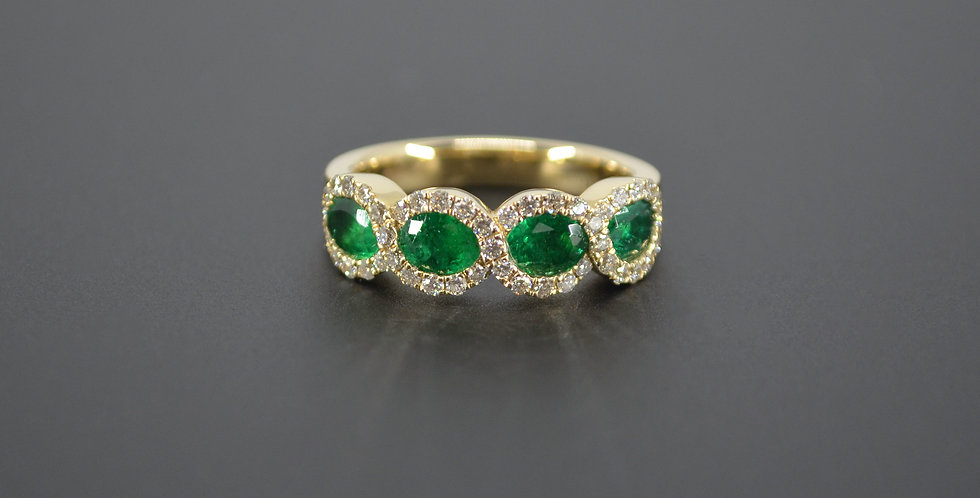 4 Waves Emerald & Diamond Ring