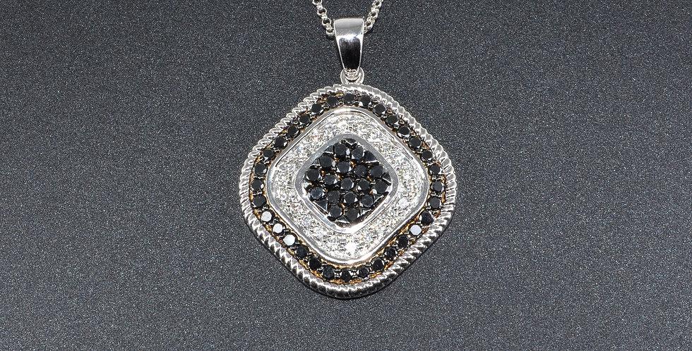 Black and White Diamonds Diamond-shaped White Gold Pendant