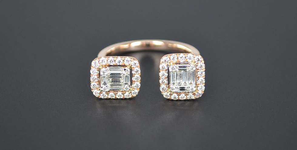 Baguette and Round Diamonds Two Bars Rose Gold Ring