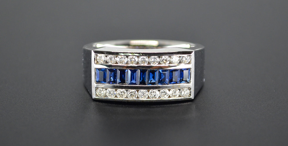 Sapphire and Diamond Men's White Gold Ring (Sold Out; We Can Order!)