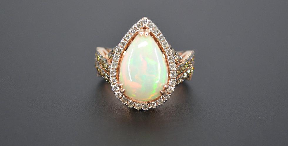 Ethiopian Opal & Champagne Diamond Ring