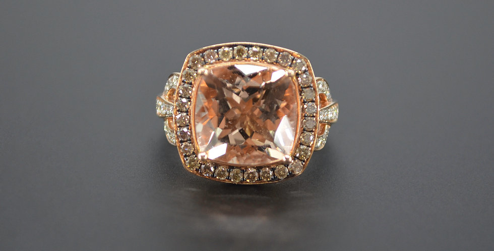 Morganite & Champagne Diamond Ring