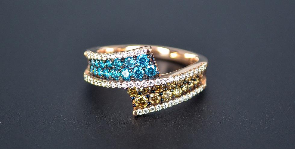 Tricolor Diamond Rose Gold Ring