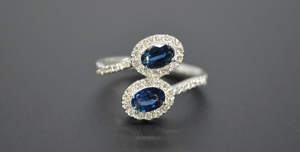 Bypass Sapphire & Diamond Ring