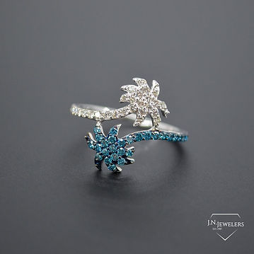 Ring - Blue & White Diamond Palm Tree.jp
