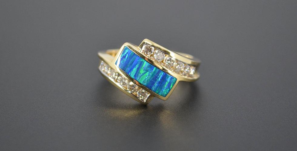 Australian Opal & Diamond Ring