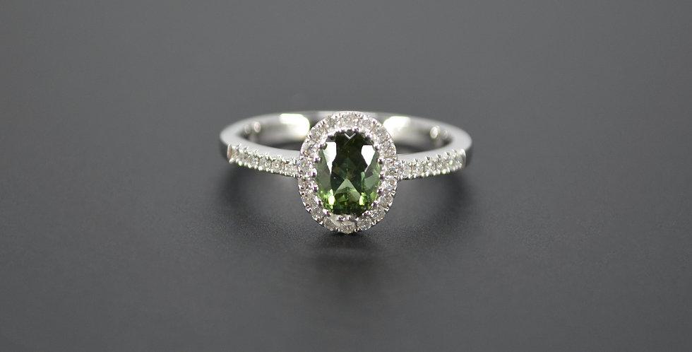 Green Tourmaline & Diamond Ring