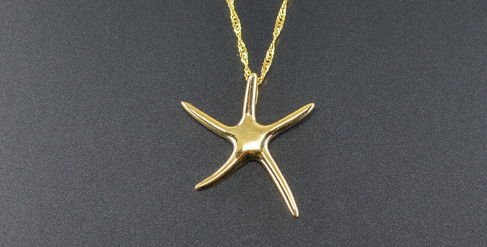 Starfish Yellow Gold Pendant (Necklace Included)