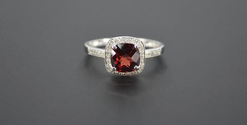 Royal Red Garnet & Diamond Ring