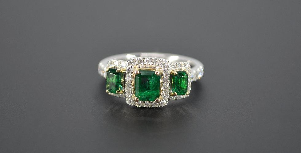 Past, Present & Future Emerald & Diamond Ring