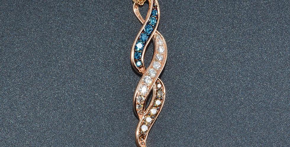 Tricolor Diamond Twisty Rose Gold Pendant