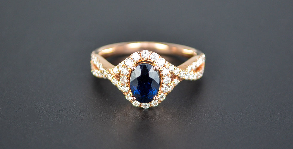 Sapphire and Diamond Twisty Rose Gold Ring