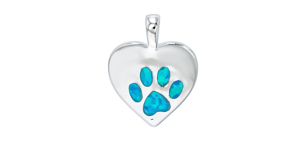 The Road To My Heart Is Paved With Paw Prints Opal Pendant