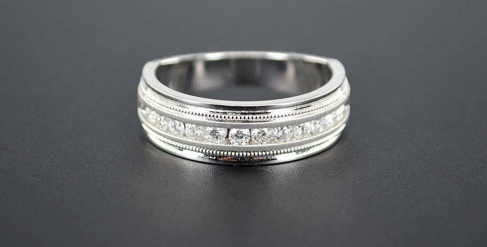 Diamond Men's White Gold Ring