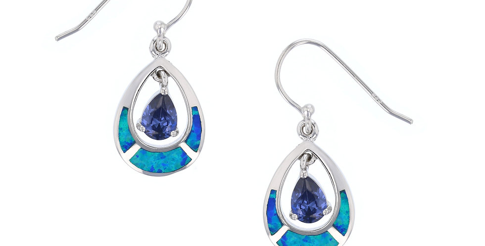 Simulated Tanzanite & Opal Chandelier Earrings