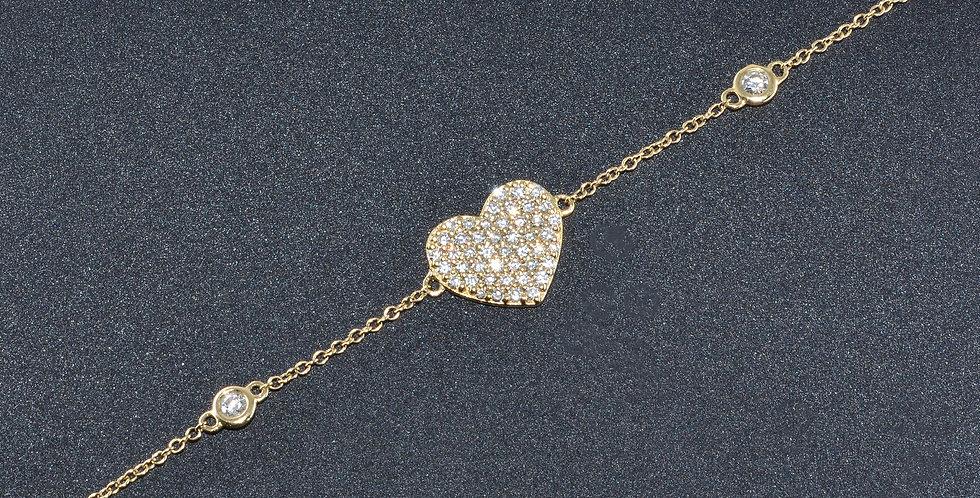 Diamonds by the Yard with Diamond Heart Charm Yellow Gold Bracelet
