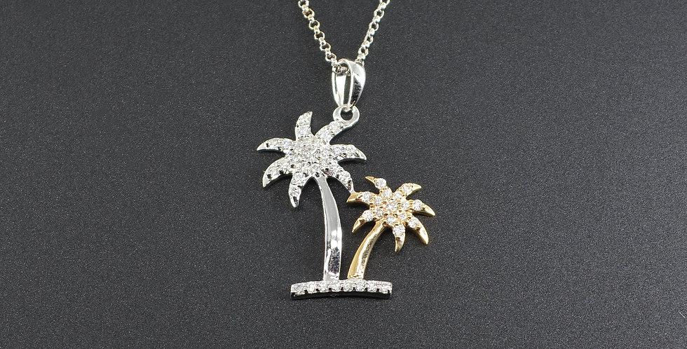 Double Palm Tree Diamond Two-tone Gold Pendant