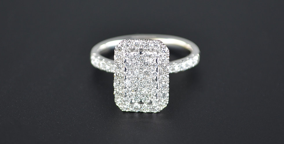Vertical and Horizontal White Diamond Ring