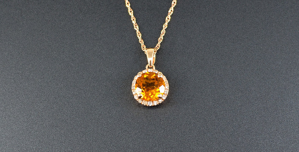 Citrine and Diamond Round Rose Gold Pendant (Necklace Included)