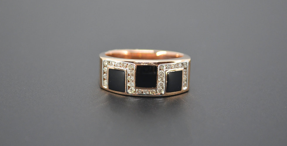 Art Deco Black Onyx & Diamond Ring