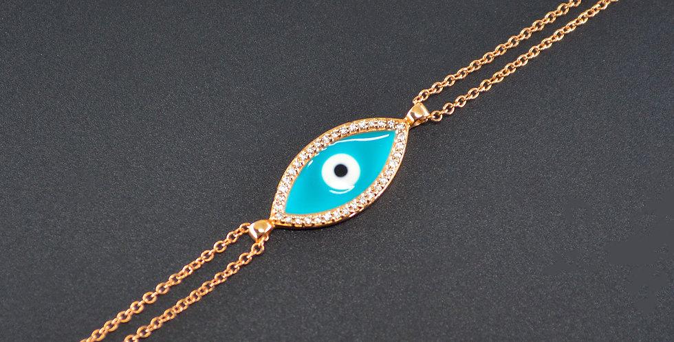 Evil Eye Enamel and Diamonds Rose Gold Bracelet