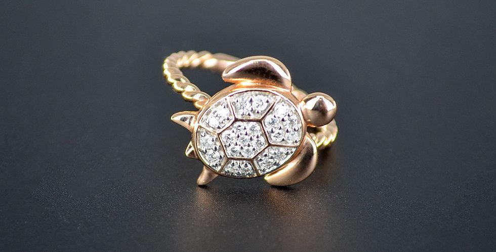 Sea Turtle Diamond Rose Gold Ring