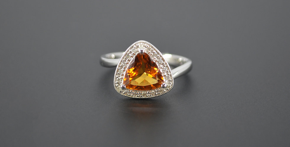 Trillion Cut Citrine & Diamond Ring