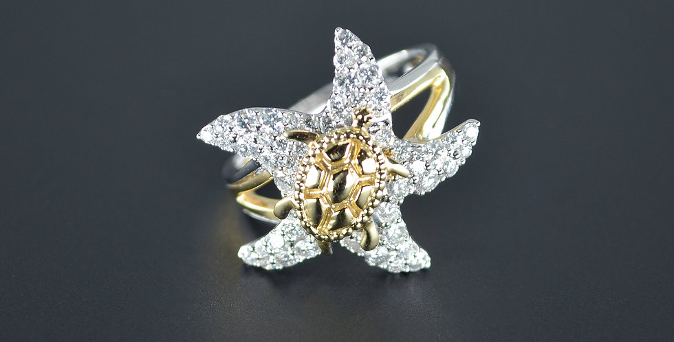 Sea Turtle and Starfish Diamond Ring