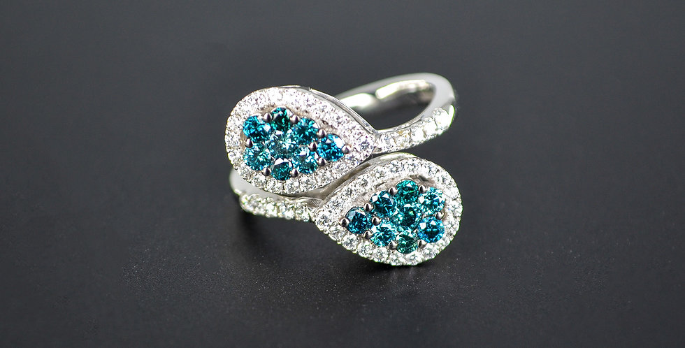 Blue and White Diamonds Twin Pears White Gold Ring