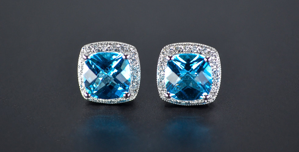 Blue Topaz, White Diamonds Square-shaped Earrings (Sold Out; We Can Order!)