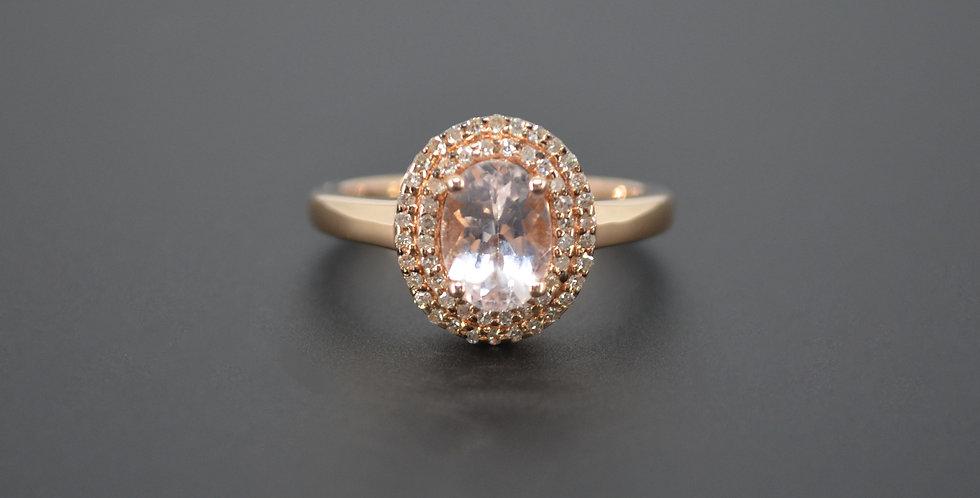 Double Halo Morganite & Diamond Ring