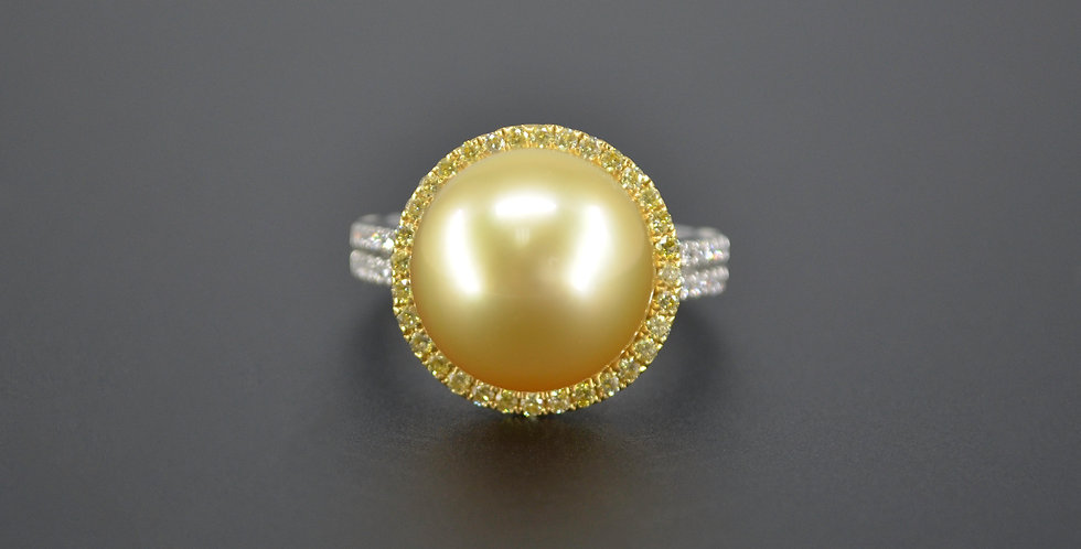 Golden Pearl & Canary Diamond Ring