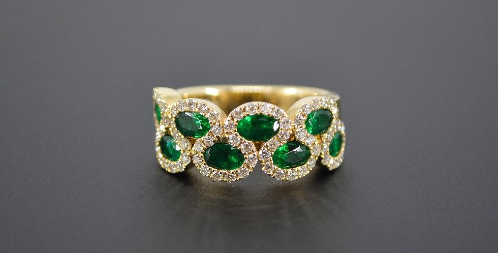 8 Waves Emerald & Diamond Ring