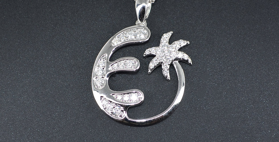 Wave and Palm Tree Diamonds White Gold Pendant