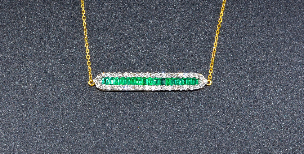 Emerald and Diamonds Stick Yellow Gold Pendant (Necklace Included)