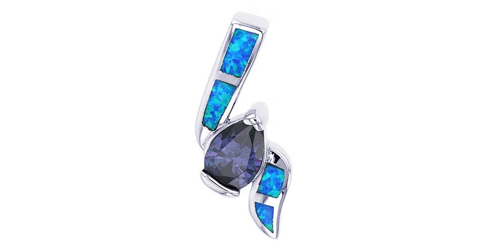 Simulated Tanzanite & Opal Pendant