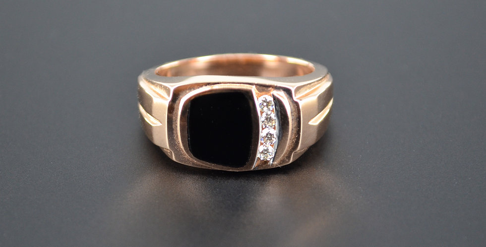 Onyx and Diamond Men's Rose Gold Ring (Sold Out; We Can Order!)