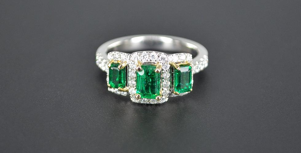 Three Emerald and Diamonds White Gold Ring
