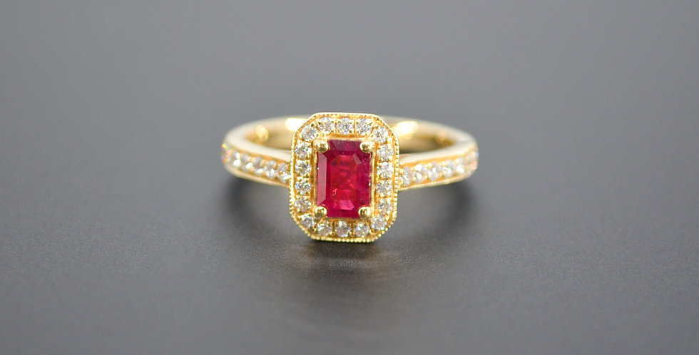 Emerald Cut Ruby & Diamond Ring