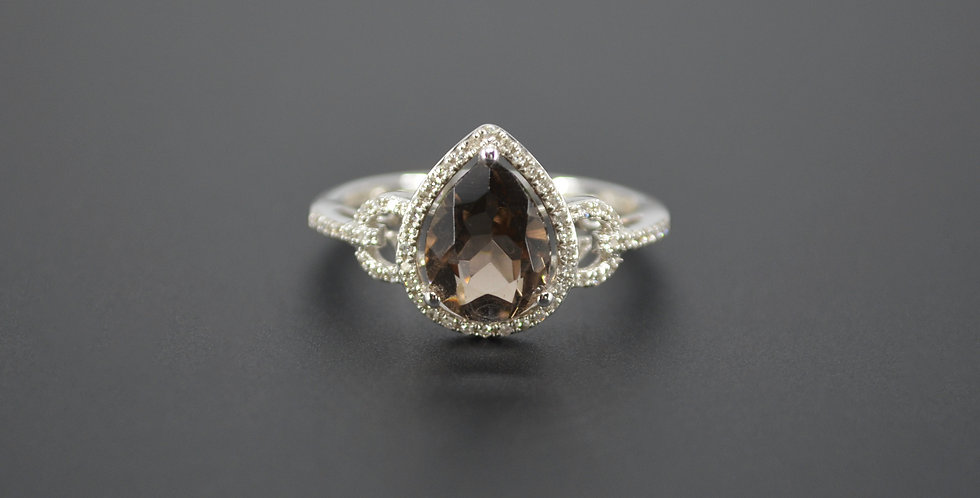 Pear Shaped Smoke Topaz & Diamond Ring