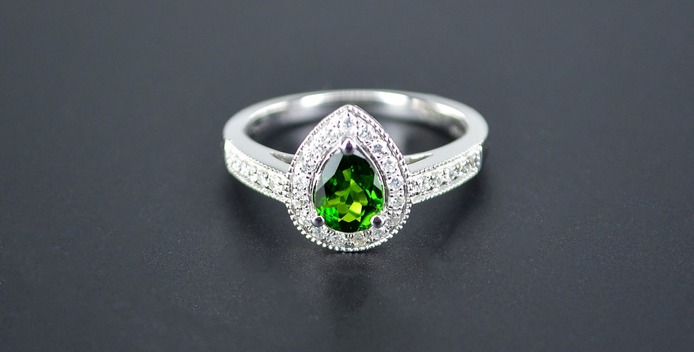 Pear-shaped Green Tourmaline Diamond White Gold Ring